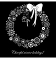 Stylized Christmas wreath from snowflakes vector image