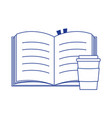 takeaway paper coffee cup and open book isolated vector image