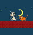 two cats on roat night vector image
