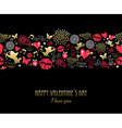 Valentines day greeting card pattern gold pink vector image