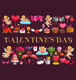 valentines day symbols and angels vector image vector image
