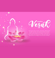 vesak day card template pink lotus and candle vector image