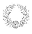 vintage wreath flowers and leaves vector image vector image