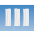 white vertical banner flags on a sky background vector image vector image