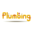 Word plumbing from yellow pipes isolated on white vector image vector image