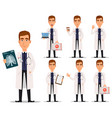 young professional doctor in white coat set vector image