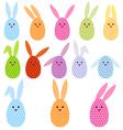 Easter egg bunnies vector image