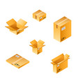 isometric box set of different size vector image