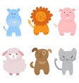 cute set of zoo animals vector image