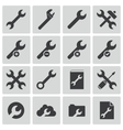 black settings wrench icons set