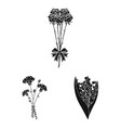 a bouquet of fresh flowers black icons in set vector image