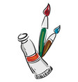 a brush and a paint tube or color vector image