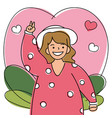 a joyful woman joins some event with her open arms vector image vector image