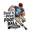 american football player running with the ball in vector image vector image