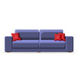 blue sofa with red pillow isolated on white vector image vector image