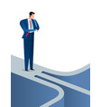 businessman found a confusing path and option vector image vector image