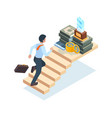 businessman on stairs man ladder running walking vector image