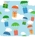 Cartoon colorful parachutes with gift boxes vector image