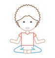 cartoon man doing yoga vector image