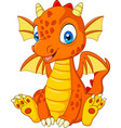 cartoon young dragon sitting vector image vector image