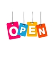 colorful hanging cardboard Tags - open vector image