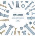 construction shop banner with realistic bolts vector image