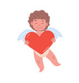 cupid character holding a big heart vector image vector image