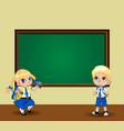 cute cartoon school girl and boy in uniform near vector image vector image