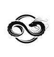 dragon in form infinity circle logo vector image vector image