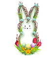 easter bunny silhouette wreath of twig green vector image vector image