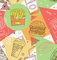 Fast food seamless pattern Trendy geometric vector image