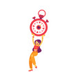 flat woman holding stopwatch smiling icon vector image