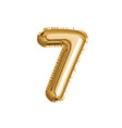 gold number seven air balloon for baby shower vector image