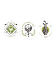 golf tournament premium logo set golf club sport vector image