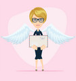 gorgeous young woman as love angel with love vector image vector image