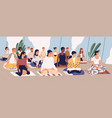 group young men and women sitting on floor vector image vector image