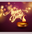 happy diwali festival of lights retro oil lamp on vector image vector image