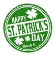 happy st patricks day grunge rubber stamp vector image