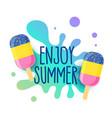 happy summer icecream background with water splash vector image