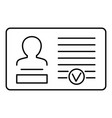 id card icon outline style vector image