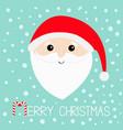 merry christmas santa claus head face big beard vector image