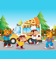 pizza food truck at park vector image