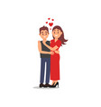 portrait of couple in love guy hugging his vector image vector image
