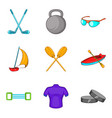 rafting icons set cartoon style vector image vector image