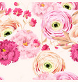 seamless pattern with eustoma and ranunculus vector image vector image