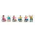 set disabled people in wheelchair vector image vector image