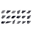 silhouette wing icons bird wings fast eagle vector image