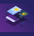 smartphone with day and night widgets vector image vector image