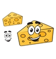 Smiling happy cartoon wedge of cheese vector image