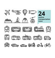 Transport and travel set of 24 light outline icons